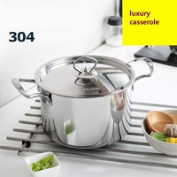 casserole SS#304 food stainless steel soup pot 20cm thickening sauceboxes cooking pot furnace general