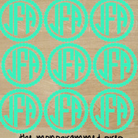Sheet of Circle Monogram Decal Stickers Pack