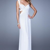 La Femme 21160 Sweetheart Open Back Long White Prom Dress