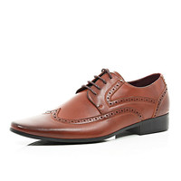 River Island MensBrown brogue formal shoes