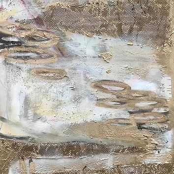 """""""Thoughtprints on Quicksand Series No. 1"""" by Ewa Jaros, Concrete and Acrylic on Canvas"""