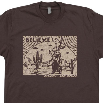 Roswell Jackalope T Shirt New Mexico UFO Believe Tee