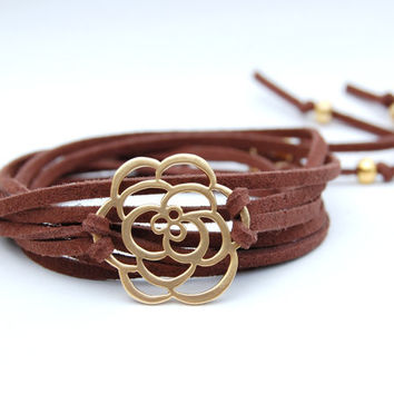 Leather Wrap Bracelet with Gold FlowerCharm and Gold Bead Accents, Yoga Jewelry, Casual, mom, sister, friend gift idea, boho, bohemian