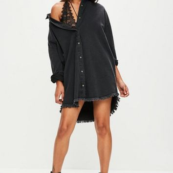 Missguided - Black Oversized Denim Shirt Dress