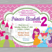 Printable FAIRY PRINCESS Theme - Birthday Party Invitation - Personalized - 24hr Turn Around - Choose 5x7 or 4x6 - Pink, Castle