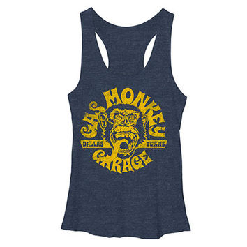 Gas Monkey Garage Face Blue Heather Juniors Tank Top