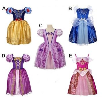 2017 Baby girls dress Girls Rapunzel Costume For Kids Clothes Girls Cinderella Dresses Snow Queen Elsa Dress Children clothing
