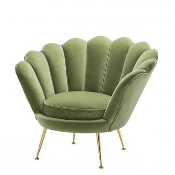 GREEN SCALLOPED ACCENT CHAIR | EICHHOLTZ TRAPEZIUM