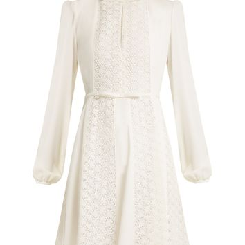 Floral-lace panelled silk-crepe dress | Giambattista Valli | MATCHESFASHION.COM US