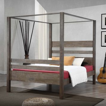 Marion Charcoal Grey Queen Canopy Bed