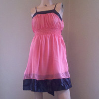 Vintage Inspired 60s Coral Pink Chiffon Dress Free Shipping