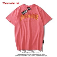 Thrasher New fashion flame letter print couple top t-shirt Watermelon Red