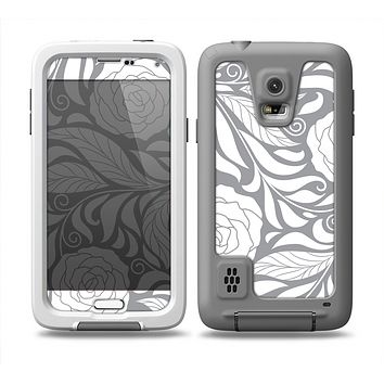 The Gray Floral Pattern V3 Skin for the Samsung Galaxy S5 frē LifeProof Case
