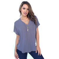 Living On The Edge Blouse In Smoke Grey