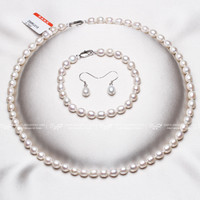 DAIMI 6-7mm White Small Rice Pearl Jewelry Sets Necklace Bracelet Earrings Pearl Sets For Women Everyday Jewelry