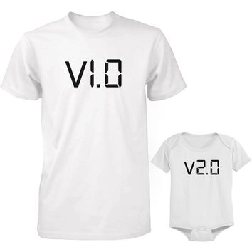 Daddy and Baby Matching White T-Shirt / Bodysuit Combo - v.1.0 and v.2.0