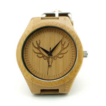 W00-DR Men's Wristwatches Vintage Wood Deer Head Designer Bamboo Wood Wristwatches Retro Luxulry Brand Wooden Bamboo Watches Men