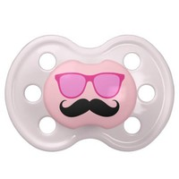 Pink Sunglasses Mustache Baby Pacifier from Zazzle.com