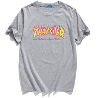 Thrasher Magazine Red Flame Logo Gray & Yellow T-Shirt