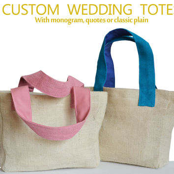 Handcrafted Wedding Monogram Burlap Tote Bag Bridesmaids Baby Shower Gift