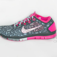 Women's Nike Free TR Connect 2 in Metallic Silver-Hyper Pink with 5 sizes of Crystal Clear Swarovski crystal detail