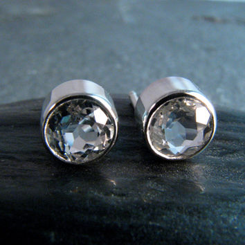 Bezel Set White Topaz Stud Post Earrings in Sterling Silver - 6mm - Natural Gemstones Earrings - April Birthstone