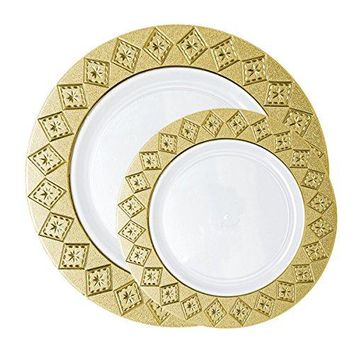 Posh Setting Imperial Collection Combo Pack China Look White/Gold Plastic Plates (Includes 40 10.25'' Dinner Plates and 40 7.25'' Salad Plates) Fancy Disposable Dinnerware
