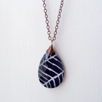 Chandelier Crystal Necklace - Copper Wire Wrapped Necklace - Fabric and Glass Necklace - Joel Dewberry Fabric - Navy Blue Herringbone