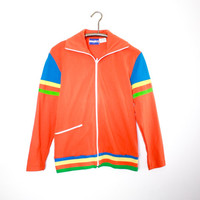 Vintage 70's Deadstock Orange Long Sleeve Track or Warm Up Jacket by Bravado with Original Tags