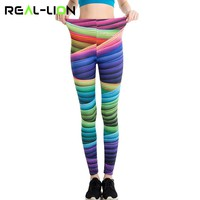 RealLion Rainbow Pants Full Length Yoga Leggings Colorful Stripe Printing Fitness Clothing Sport Trousers Running Tights Women