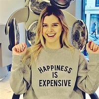 Women'S Round Neck Long Sleeve Letter Printing Sweater