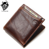 Vintage Casual Men Wallets  Genuine Leather Men Short Multi-Function Card Holder Wallet Purse