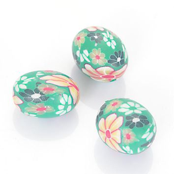 20 Pcs Handmade Polymer Clay Oval Spacer Multiple Flower Fimo Loose Beads For DIY Jewelry Making Accessories