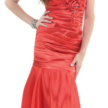 2013 Homecoming Dresses 1930s Style Red Ruched Tank Rose Prom Gown