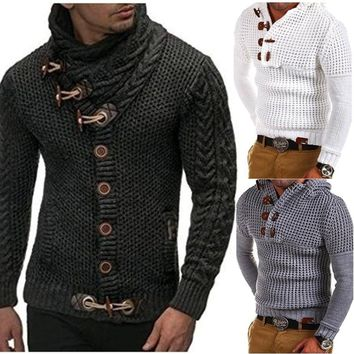 Men's Thick Coat Knitted Cable Turtleneck Sweater Cardigan Lapel Tide