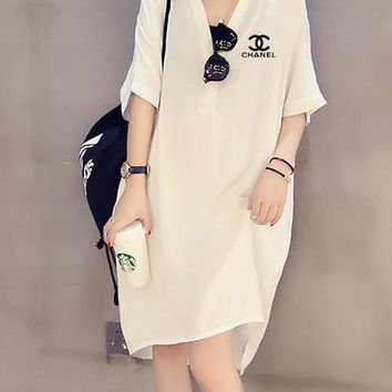 """Chanel"" Women Loose Fashion Simple Letter Lapel Middle Sleeve Shirt Maxi Dress"