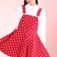 Glitters For Dinner — Ready To Post - Red Polka Dot Pinafore