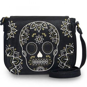 """Cream & Gold Skull"" Crossbody Bag by Loungefly (Black)"