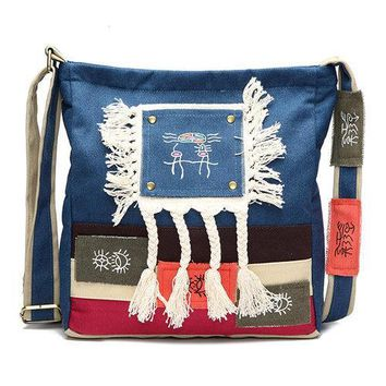 Chinese Women Style Canvas Shoulder Bags Tribal National Style Crossbody Bags