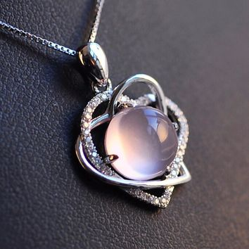 STYLEDOME Silverdouble heart statement opal necklace chain for women