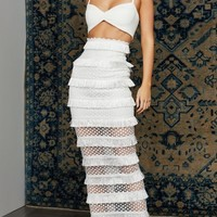 Sheer Luck White Sleeveless Spaghetti Strap V Neck Crop Top Cut Out Lace Fringe Bodycon Maxi Bandage Two Piece Dress