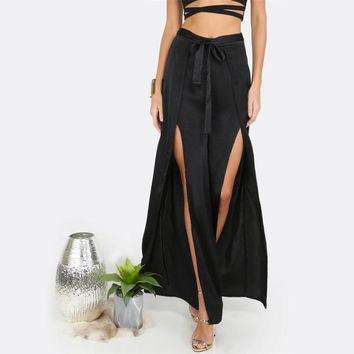 Sexy Slit Trousers in Solid Black Wide Leg Pants