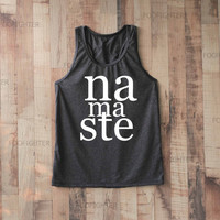 Namaste Shirt Tank Top Racerback Racer back T Shirt Top – Size S M L
