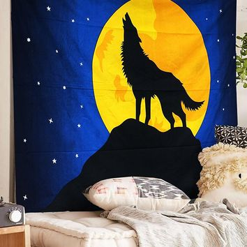 Howl At The Moon Wolf Fabric Wall Bed Tapestry