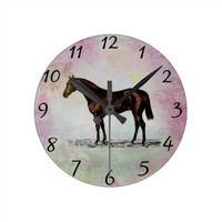 Brown Horse Round Clock