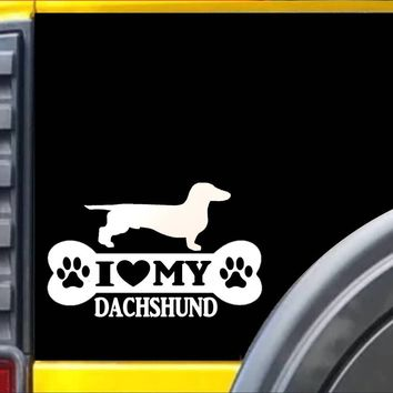 Dachshund Bone L076 8 inch Sticker dachshund dog decal