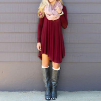 Maroon Long sleeve Asymmetrical Dress