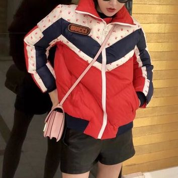 """Gucci"" Women Fashion Multicolor Long Sleeve Zip Cardigan Cotton-padded Clothes Coat"