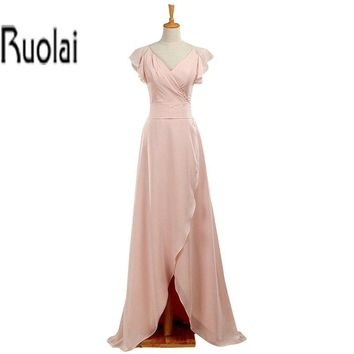 New Arrival Pink 2016 Ruffles V Neck Cap Sleeves A Line Floor Length Bridesmaid Dresses Long Maid Of Honor Dress