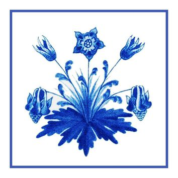 William Morris Columbine Flower Arts & Crafts Design Counted Cross Stitch or Counted Needlepoint Pattern